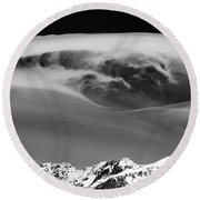 Above The Peaks Round Beach Towel