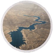 Above The Rocky River Round Beach Towel