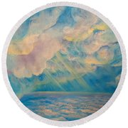 Above The Sun Splashed Clouds Round Beach Towel