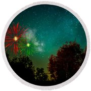 Above The Trees Below The Stars Celebration  Round Beach Towel