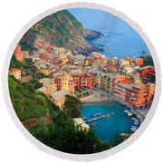 Above Vernazza Round Beach Towel by Inge Johnsson