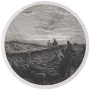 Abraham Journeying Into The Land Of Canaan Round Beach Towel
