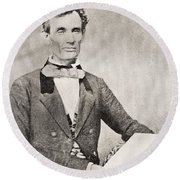Abraham Lincoln, 1809 – 1865, Seen Here In 1854.  16th President Of The United States Of America Round Beach Towel