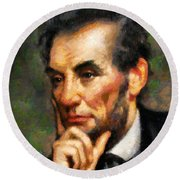 Abraham Lincoln - Abstract Realism Round Beach Towel