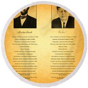Abraham Lincoln And John F Kennedy Presidential Similarities And Coincidences Conspiracy Theory Fun Round Beach Towel