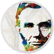 Abraham Lincoln Art - Colorful Abe - By Sharon Cummings Round Beach Towel