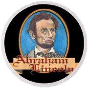 Abraham Lincoln Graphic Round Beach Towel by John Keaton