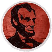 Abraham Lincoln License Plate Art Round Beach Towel