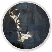 Abraham Lincoln Mount Rushmore National Monument Round Beach Towel