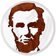 Abraham Lincoln Original Coffee Painting Round Beach Towel