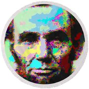 Abraham Lincoln Portrait - Abstract Round Beach Towel