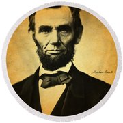 Abraham Lincoln Portrait And Signature Round Beach Towel