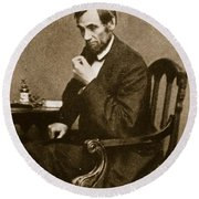 Abraham Lincoln Sitting At Desk Round Beach Towel