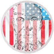 Abraham Lincoln Vintage American Flag Round Beach Towel