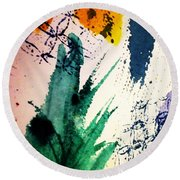 Abstract - Splashes Of Color Round Beach Towel