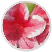 Abstract 106 Pink Painterly Flowers Round Beach Towel