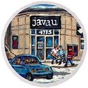 Montreal Art Exhibit At Java U Carole Spandau Montreal Street Scenes Paintings Hockey Art  Round Beach Towel