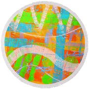 Abstract  23614   Diptych  I  Round Beach Towel