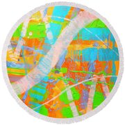 Abstract 23614  Diptych  II Round Beach Towel