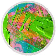 Abstract 6814 Diptych Cropped Xvi  Round Beach Towel