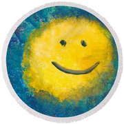 Abstract - Acrylic - Happy Abstraction Round Beach Towel