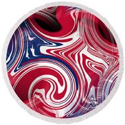 Abstract American Flag Round Beach Towel