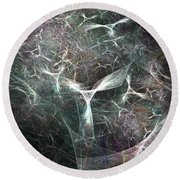 Abstract Angels White Portrait Round Beach Towel