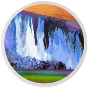 Abstract Arizona Mountains At Icy Dawn Round Beach Towel
