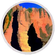 Abstract Arizona Mountains At Sunset Round Beach Towel