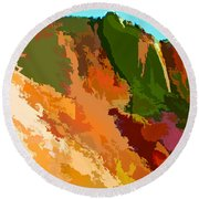 Abstract Arizona Mountains In The Afternoon  Round Beach Towel