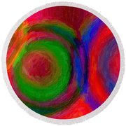 Separate Yet Together - Abstract Art  Round Beach Towel