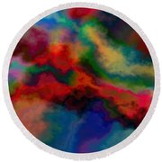 Intrigued - Abstract Art  Round Beach Towel