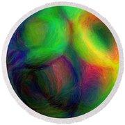 Journey - Square Abstract Art  Round Beach Towel