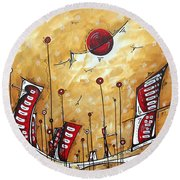 Abstract Art Cityscape Original Painting The Garden City By Madart Round Beach Towel