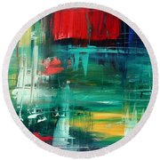 Abstract Art Colorful Original Painting Bold And Beautiful By Madart Round Beach Towel