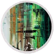 Abstract Art Colorful Original Painting Green Valley By Madart Round Beach Towel