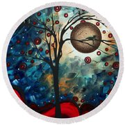 Abstract Art Contemporary Cat Bird Circle Of Life Collection Cat Perch By Madart Round Beach Towel