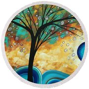 Abstract Art Contemporary Painting Summer Blooms By Madart Round Beach Towel