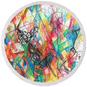 Abstract Art Focused Inward Towards The Divine 4 Round Beach Towel