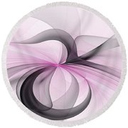 Abstract Art Fractal With Pink Round Beach Towel