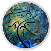 Abstract Art Gold Textured Original Tree Painting Peace And Desire By Madart Round Beach Towel
