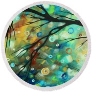 Abstract Art Landscape Circles Painting A Secret Place 2 By Madart Round Beach Towel