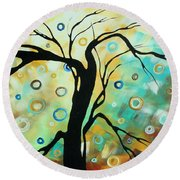 Abstract Art Landscape Circles Painting A Secret Place 3 By Madart Round Beach Towel