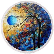 Abstract Art Landscape Metallic Gold Textured Painting Eye Of The Universe By Madart Round Beach Towel