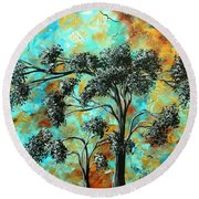 Abstract Art Landscape Metallic Gold Textured Painting Spring Blooms II By Madart Round Beach Towel