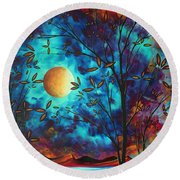 Abstract Art Landscape Tree Blossoms Sea Moon Painting Visionary Delight By Madart Round Beach Towel