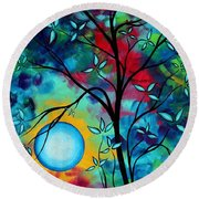 Abstract Art Landscape Tree Blossoms Sea Painting Under The Light Of The Moon I  By Madart Round Beach Towel by Megan Duncanson