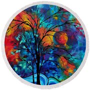 Abstract Art Landscape Tree Bold Colorful Painting A Secret Place By Madart Round Beach Towel