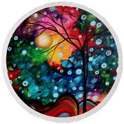 Abstract Art Landscape Tree Painting Brilliance In The Sky Madart Round Beach Towel