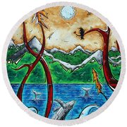 Abstract Art Original Alaskan Wilderness Landscape Painting Land Of The Free By Madart Round Beach Towel by Megan Duncanson